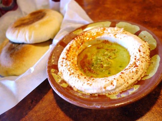 Hummus with fresh pita at Shawarma King.