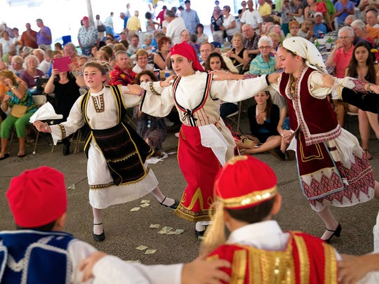Members of the Junior Levandia dance troupe perform at the annual St. Katherine Greek Fest at St. Katherine Greek Orthodox Church on Friday, Feb. 22, 2013, in Naples.