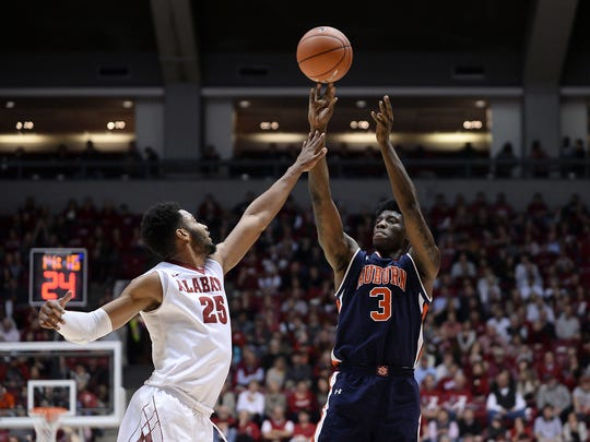 Auburn forward Danjel Purifoy (3) scored 14 points in a 82-77 win  over Alabama at Coleman Coliseum on Saturday, Feb. 4, 2017, in Tuscaloosa, Ala.