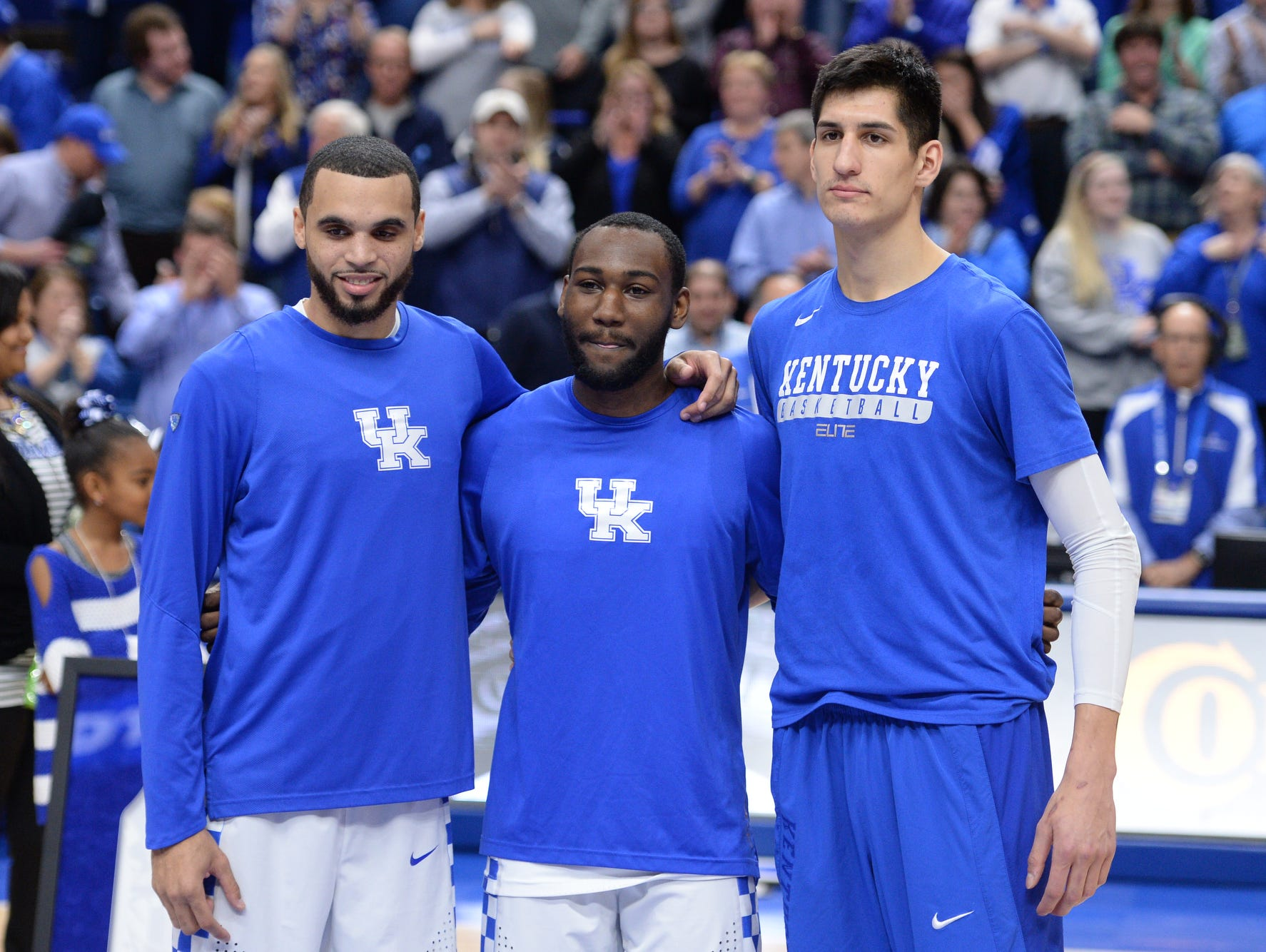 UK seniors Mychal Mulder, Dominique Hawkins, and Derek Willis are recognized before to the University of Kentucky basketball game against Vanderbilt University at Rupp Arena in Lexington, KY on Tuesday, February 28, 2017.