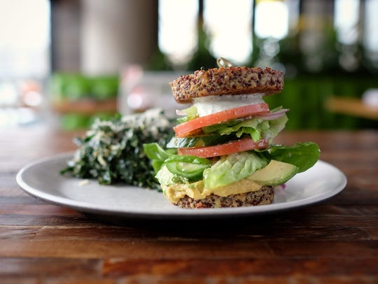 The inside-out quinoa burger at True Food Kitchen.
