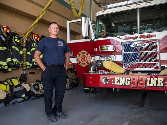 Lt. Brandon Anderson, photographed at Fishers Fire Department station 93, Fishers, Ind., Wednesday, Sept. 6, 2017. Anderson lost his right leg in a motorcycle accident in August of 2016, and returned to work at the Fishers Fire Department in May of 2017, with an above-the-knee prosthetic leg. Anderson has passed physical agility tests and is able to perform his medical, firefighting and emergency duties as efficiently as before the accident.