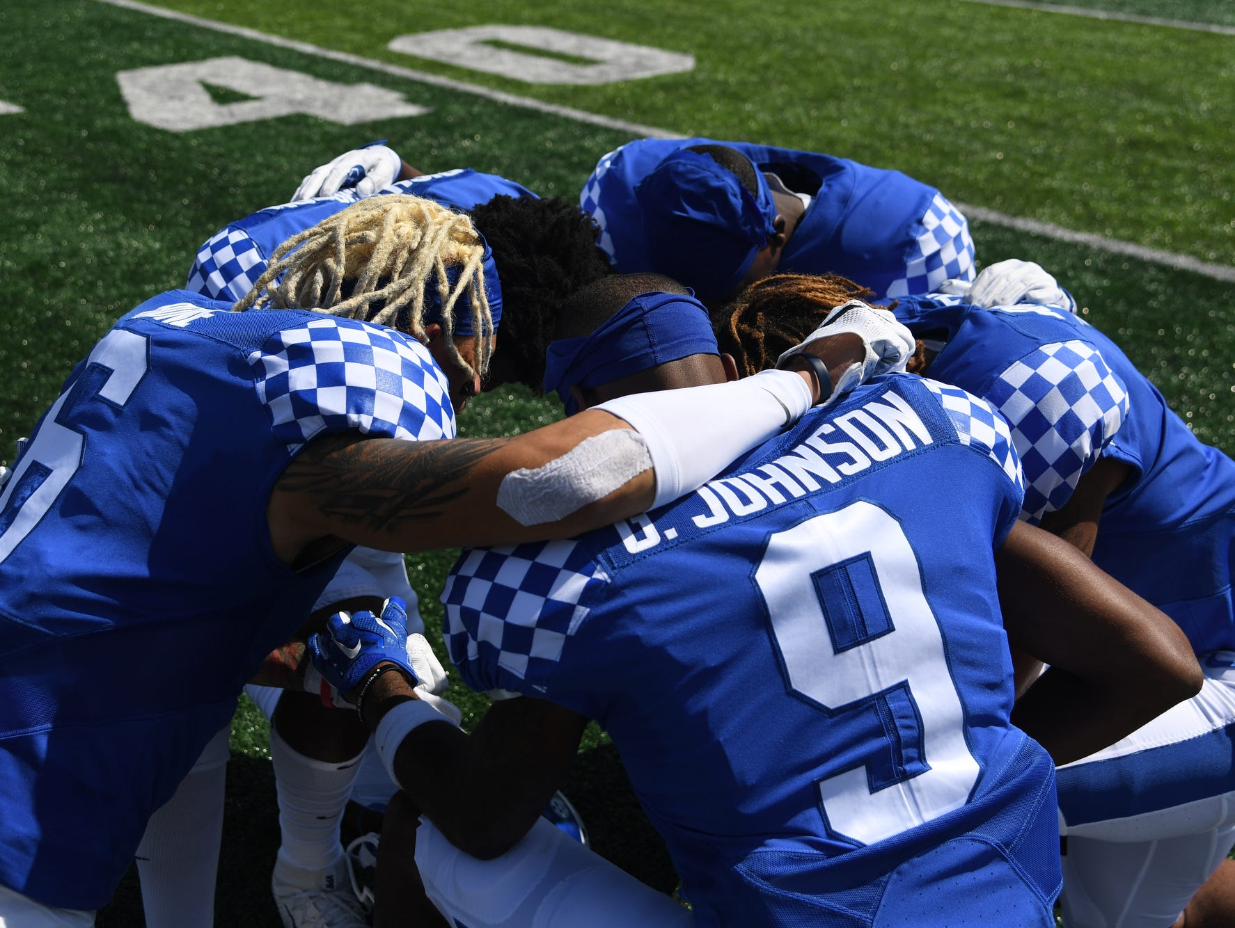 UK wide receivers before the University of Kentucky football game against Eastern Kentucky University in Lexington, KY on Saturday, September 9, 2017.
