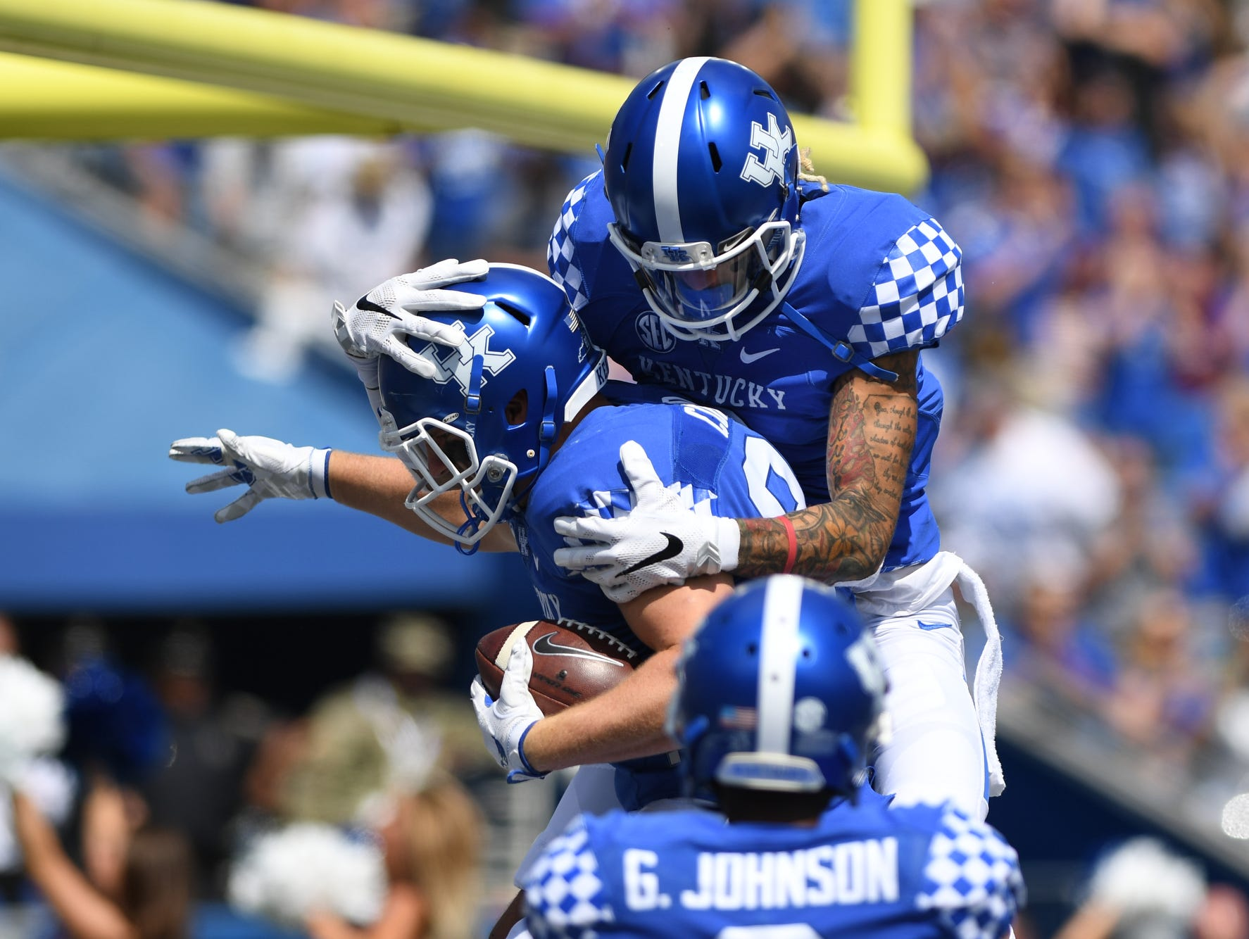 UK TE C.J. Conrad celebrates a touchdown during the University of Kentucky football game against Eastern Kentucky University in Lexington, KY on Saturday, September 9, 2017.