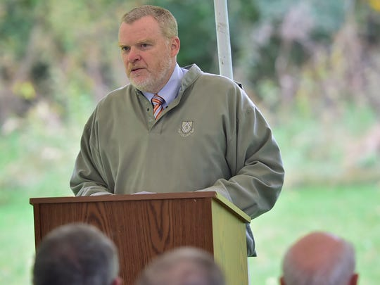 Bryan Salzman speaks during  ceremony at J. Hase Mowrey Regional Wastewater Treatment Facility in Chambersburg. A dedication ceremony was held at the facility on Monday, October 16, 2017.