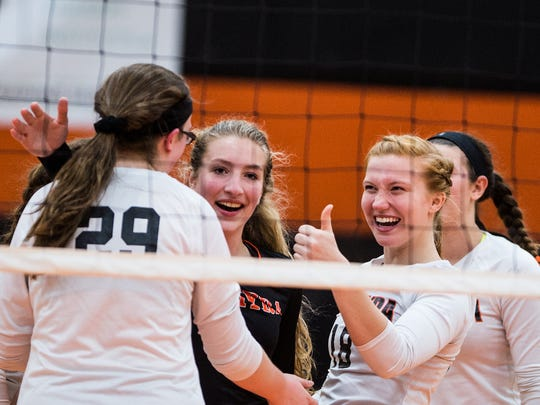 Palmyra celebrates a point as Palmyra defeated Greencastle-Antrim 3-1 in the PIAA District 3 AAA quarterfinals on Tuesday, Oct. 31, 2017.