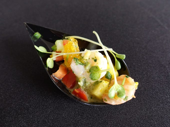 Shrimp and scallop ceviche with tomatillo vinaigrette
