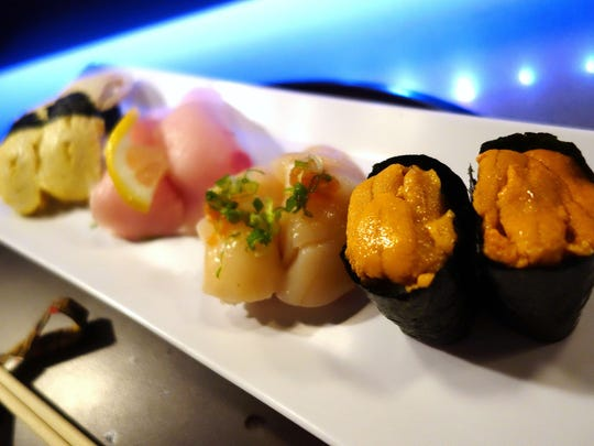 Nigiri Sushi at Hana Japanese Eatery. Front to back: