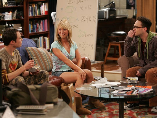 """The Big Bang Theory"" premiered in 2007 with an intriguing triangle, socially awkward geniuses Sheldon (Jim Parsons), left, and Leonard (Johnny Galecki), right, navigating life in an apartment across the hall from actress/waitress Penny (Kaley Cuoco), who had a much higher emotional intelligence."