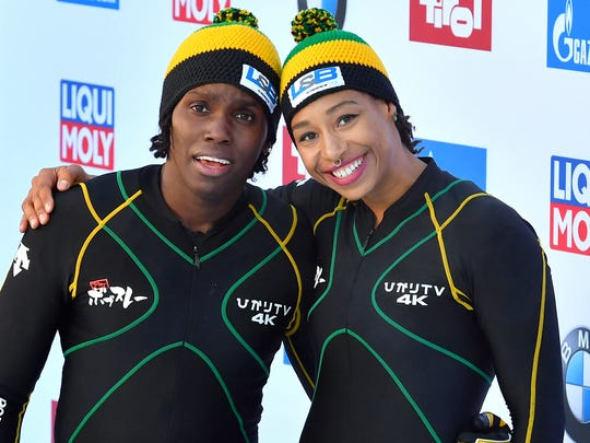 Jazmine Fenlator-Victorian, right, and Carrie Russell of Jamaica competed in the World Cup women's bobsled race in Innsbruck, Austria, in December 2017.