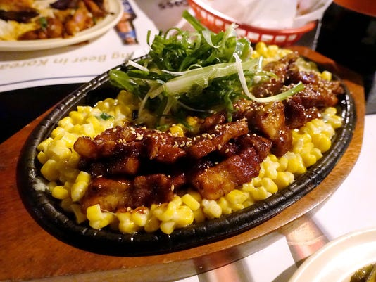 Fire pork with cheese corn at Drunken Tiger