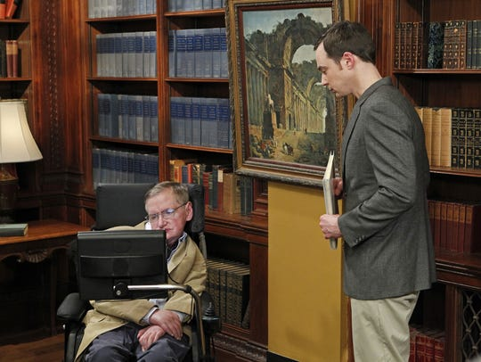 """The Big Bang Theory"" featured many well-known guest stars from the fields of science, business and entertainment, including theoretical physicist Stephen Hawking, left, who is seen here with ""Bang"" physicist Sheldon (Jim Parsons)."