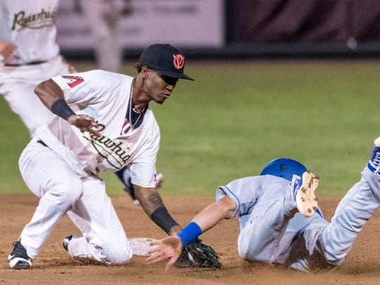 Visalia Rawhide's Raymel Flores makes the tag at second