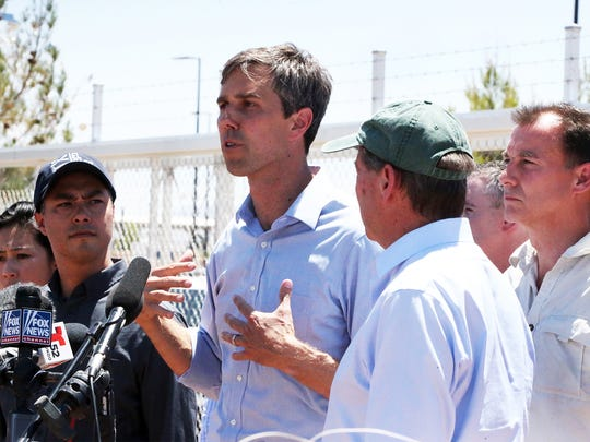 U.S. Rep. Beto O'Rourke talks to the media outside