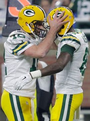 Green Bay Packers quarterback Aaron Rodgers and receiver