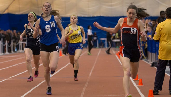 Shore's Hannah Birdsall finishes second in the Girls Group I 400 Meter Dash. NJSIAA Groups I and IV State Track Championships at Bennett Center  in Toms River.