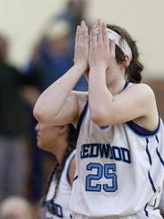 Redwood's Madison Kast reacts to the Rangers' loss