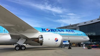 Korean Air's first Boeing 787-9 Dreamliner is seen during delivery ceremony festivities at Boeing's 787 facilities in North Charleston, S.C., on Feb. 22, 2017.