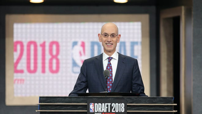 NBA commissioner Adam Silver speaks before the first round of the 2018 NBA Draft at the Barclays Center.