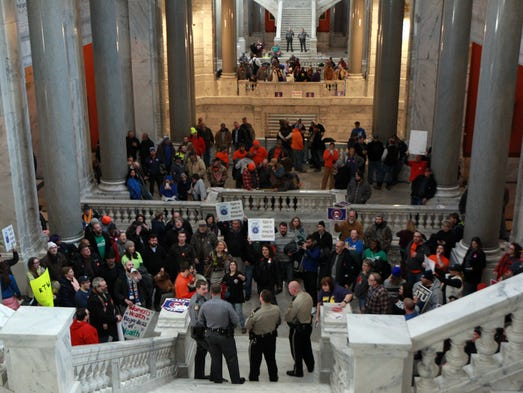 Union workers protest in the state capitol against