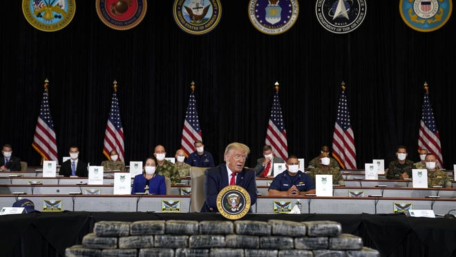 President Donald Trump speaks during a briefing on counternarcotics operations at U.S. Southern Command, Friday, July 10, 2020, in Doral, Fla.