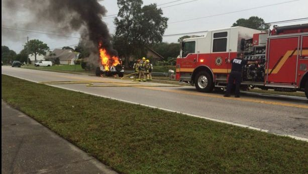 BCFR responded to a jeep fire in Palm Bay on Friday.