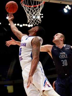Louisiana Tech senior guard Alex Hamilton goes up for a reverse layup in a loss to Old Dominion earlier this month. Hamilton will play his final games as a Bulldog next week in Las Vegas.