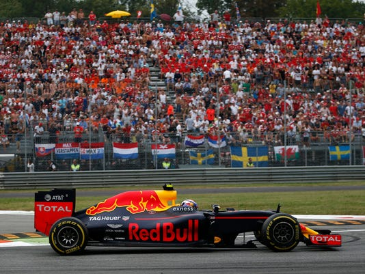 Netherlands' driver Max Verstappen steers his Red Bull during the Italian Formula One Grand Prix at the Monza racetrack, in Monza, Italy, Sunday, Sept. 4, 2016. (AP Photo/Antonio Calanni)