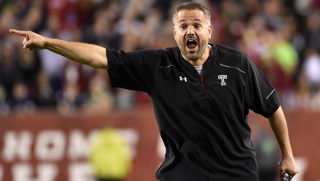 Matt Rhule gives direction from the sideline during a Temple game in 2016. Rhule, who is the new Baylor University head football coach, spoke Wednesday, June 14, at the Angelo Football Clinic.