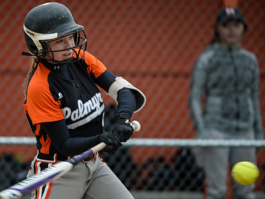 Palmyra's Kayla Bonawitz connects for one of her three
