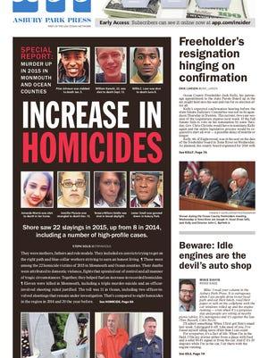 Asbury Park Press front page, Saturday, January 9, 2016