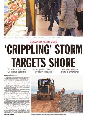 Asbury Park Press front page, Saturday, January 23, 2016