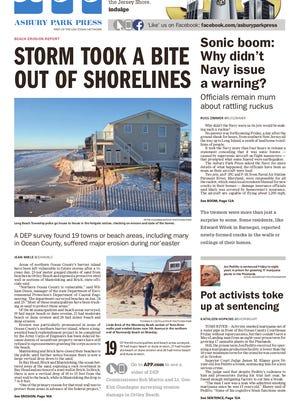 Asbury Park Press front page, Saturday, January 30, 2016