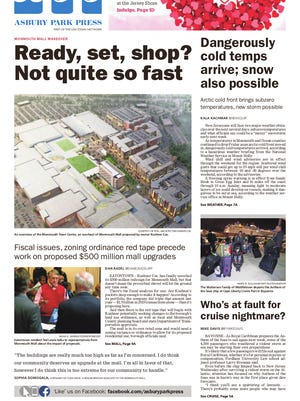 Asbury Park Press front page, Saturday, February 13, 2016