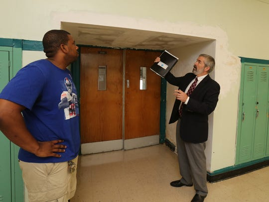 John Carr, right, Yonkers' director of school facilities