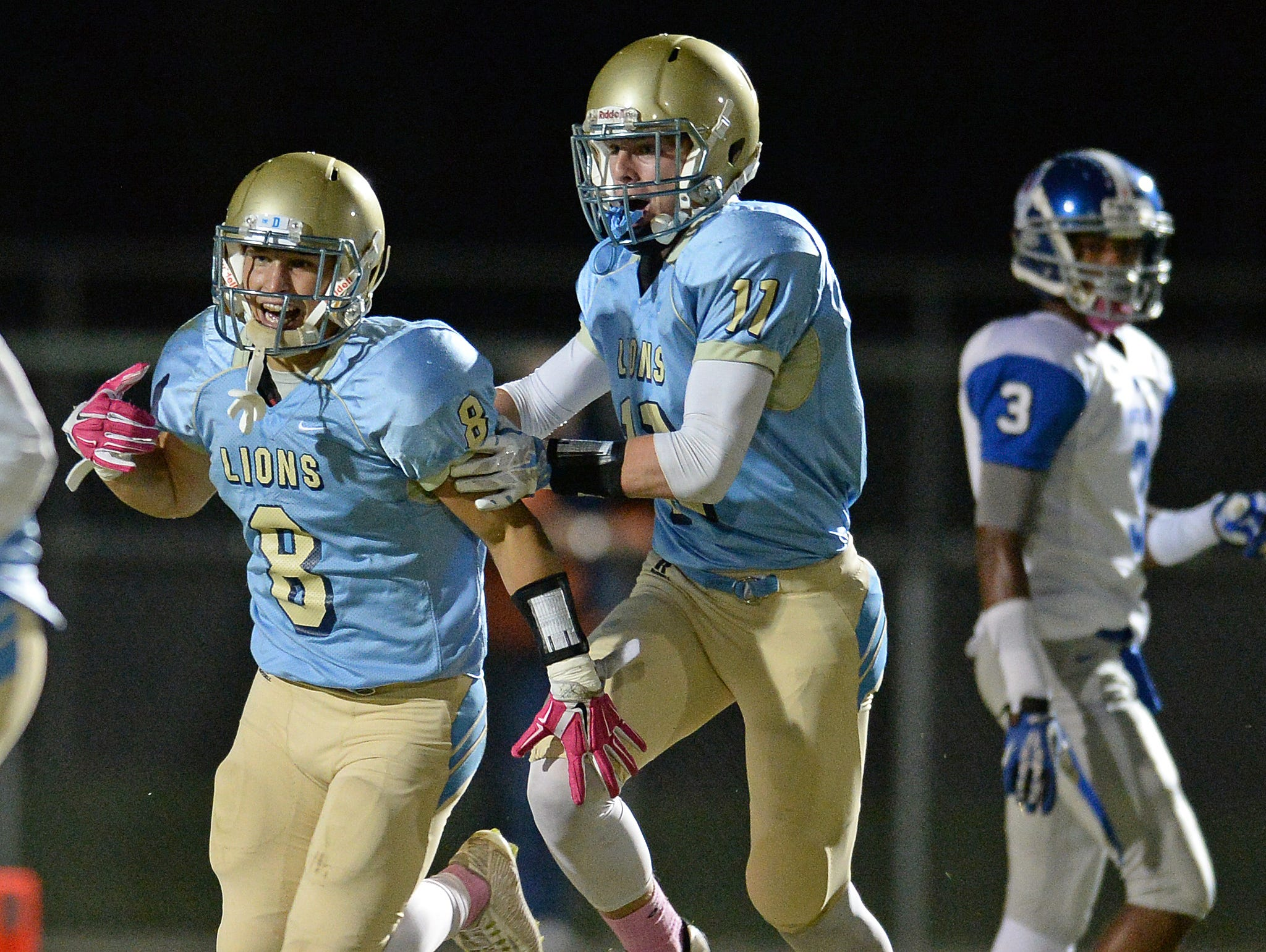 Daniel's Carter Groomes (8) celebrates with Jacob Maloney (11) after intercepting a Pickens pass Friday, October 16, 2015 at Daniel High in Central.