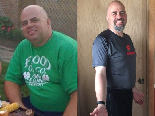 Joel Padovano pictured before his weight loss, left, and after.