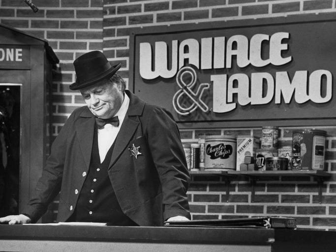 Wallace (Bill Thompson) wears a sad face off camera as he reads his script, 12/28/1989.  It is the last Wallace & Ladmo show.