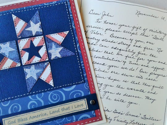 Personal, hand-crafted thank-you cards presented to the veterans with each quilt display the creative eye and artistic cursive of Glenda Sivers.