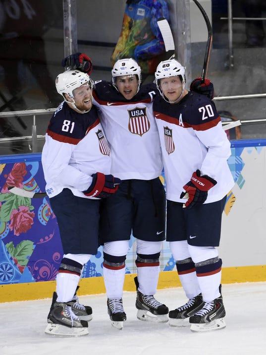 USP OLYMPICS: ICE HOCKEY-MEN'S QUARTERFINALS-USA V S OLY RUS