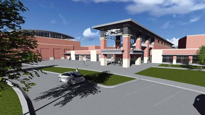 An artist's rendering shows the Collierville High School under construction. Collierville's school board on Tuesday took early steps toward redrawing school zones to accommodate the new school.