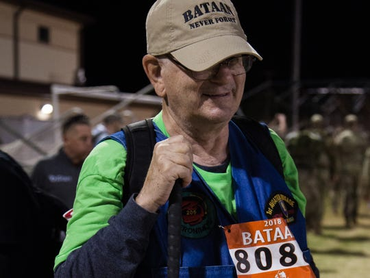Dave Meyrick, of Las Vegas, Nevada, participates in the 29th annual Bataan Memorial Death March at White Sands Missile Range on Sunday, March 25, 2018.
