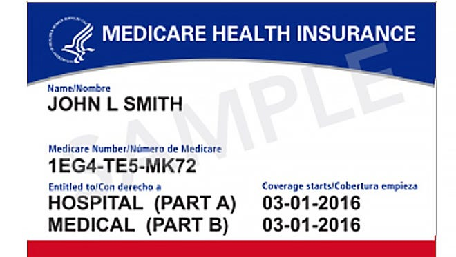 A version of new Medicare cards the federal government began mailing recipients in April and will be sending through April 2019.