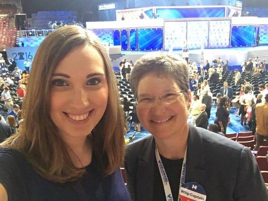 Sarah McBride (left) with superdelegate Lisa Goodman