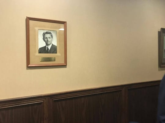 A portrait of the late Justice Jack Pope hangs on the wall of the Nueces County 94th District Court, where his judicial career began.