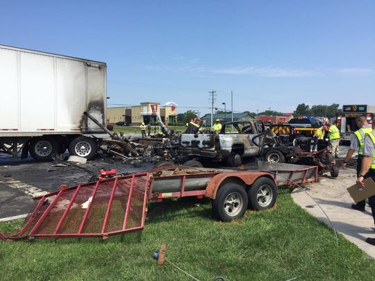 A tractor-trailer and three other vehicles collided on northbound South Du Pont Highway near Thomas Harmon Drive in Camden on Wednesday, Aug. 2, 2017.