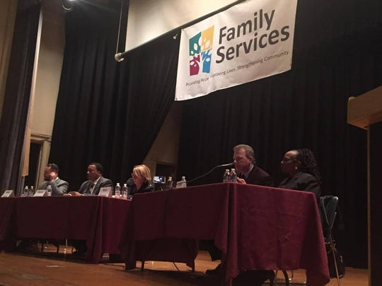 Candidates sit on stage Thursday night. The forum was hosted by the Mid-Hudson Valley Chapter of Delta Sigma Theta Sorority, Inc. and other organizations.