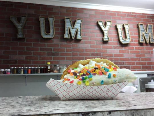"An ice cream ""taco"" at Yum Yum Dessert Bar."