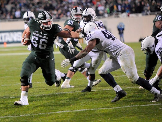 Jack Allen's touchdown run against Penn State in 2015 was one of many memorable moments in a matchup that for two decades was almost always MSU's season finale.