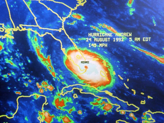 This photograph from a radar image shows Hurricane Andrew barreling into the coast of South Florida on Aug. 24, 1992. The red and yellow hues indicate it was packing deadly winds, soaking rain and destructive tornadoes. The photo is etched in the memories of many since Andrew unleashed its fury 10 years ago.